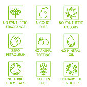 Vector set of design elements, logo design template, icons and badges for natural and organic cosmetics in trendy linear style - no synthetic fragrance and colors, no animal testing, no mineral oil, gluten free, no toxic chemicals