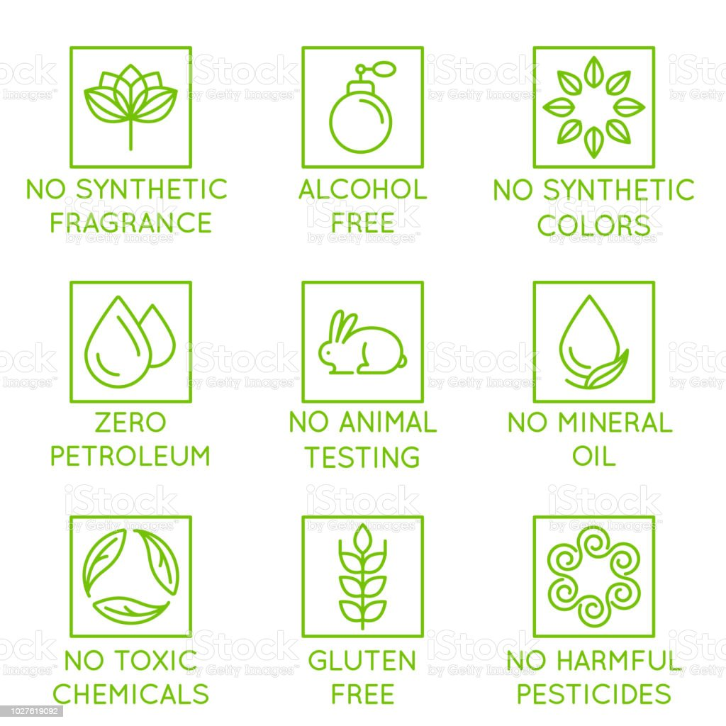 Vector set of design elements, logo design template, icons and badges for natural and organic cosmetics in trendy linear style - no synthetic fragrance and colors vector art illustration