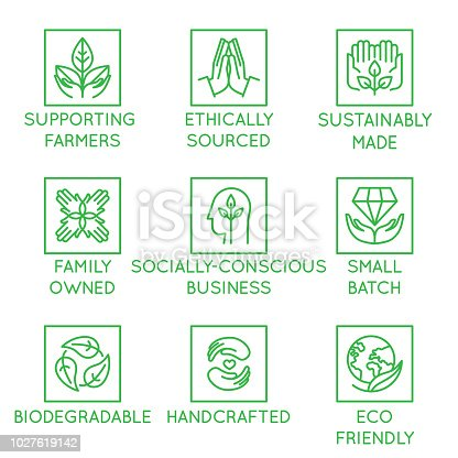 Vector set of design elements, logo design template, icons and badges for natural and organic cosmetics and sustainably made products in trendy linear style - supporting farmers, socially-conscious business, biodegradable, handcrafted,, small batch, eco friendly