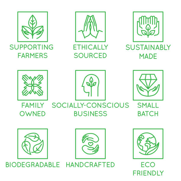 Vector set of design elements, logo design template, icons and badges for natural and organic cosmetics and sustainably made products Vector set of design elements, logo design template, icons and badges for natural and organic cosmetics and sustainably made products in trendy linear style - supporting farmers, socially-conscious business, biodegradable, handcrafted,, small batch, eco friendly natural condition stock illustrations