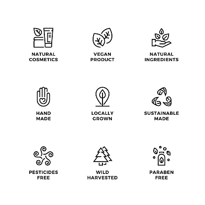 Vector set of design elements, logo design template, icons and badges for eco and bio products. Black and white, line icon set, editable stroke.