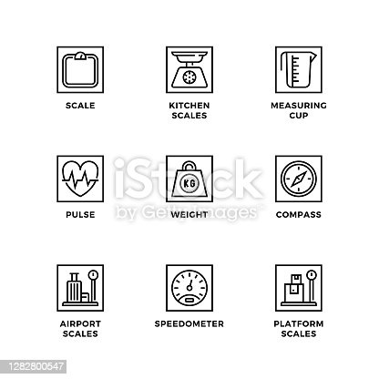 Vector set of design elements, logo design template, icons and badges for measuring. Line icon set, editable stroke.