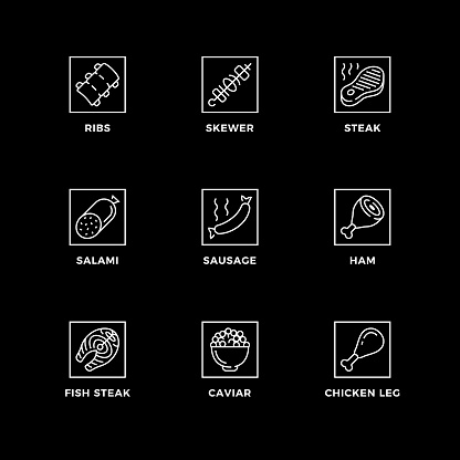 Vector set of design elements, logo design template, icons and badges for meat.