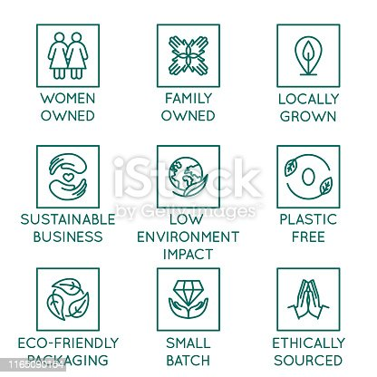 Vector set of design elements, logo design templates, icons and badges for natural and organic cosmetics and sustainably made products in trendy linear style - family or women owned business with low environmental impact, locally grown and eco friendly packaging