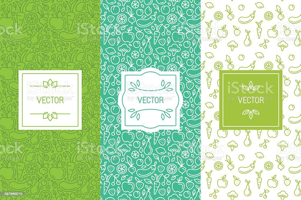 Vector set of design elements, seamless patterns and backgrounds - arte vettoriale royalty-free di Alimentazione sana