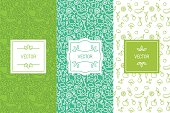 Vector set of design elements, seamless patterns and backgrounds for organic, healthy and vegan food packaging - green labels and emblems for vegetarian products, shops and websites with copy space for text and logo
