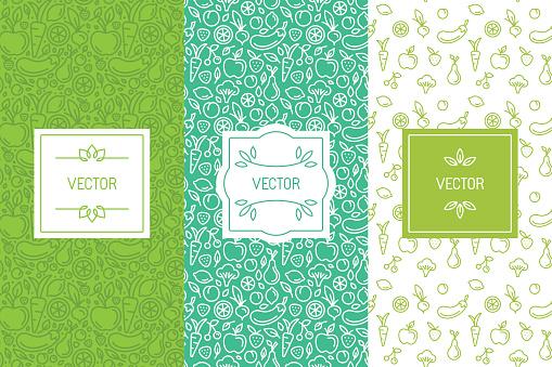 Vector Set Of Design Elements Seamless Patterns And Backgrounds - Immagini vettoriali stock e altre immagini di Alimentazione sana