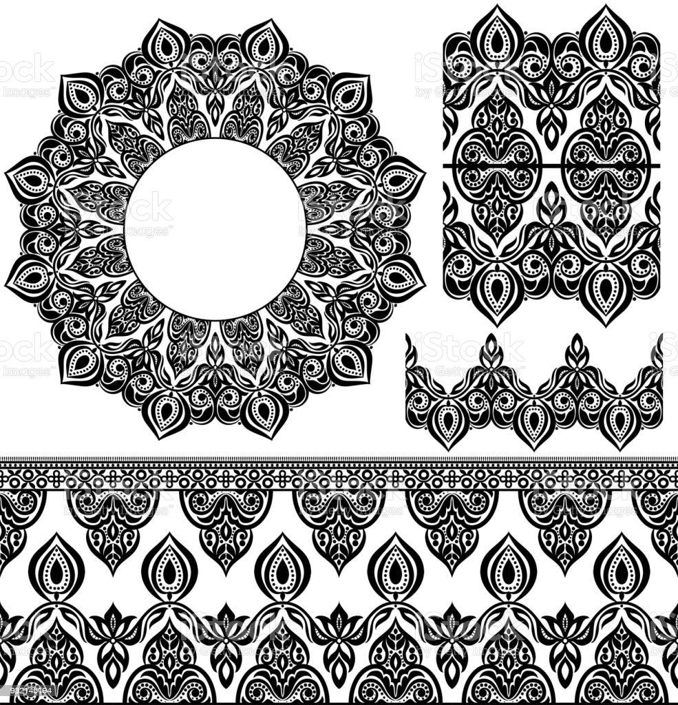 Vector Set Of Design Elements Seamless Texture Borders