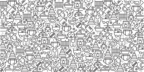 Vector set of design templates and elements for Baby in trendy linear style - Seamless patterns with linear icons related to Baby - Vector