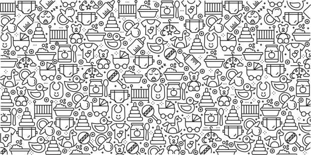 stockillustraties, clipart, cartoons en iconen met vector set van ontwerpsjablonen en elementen voor baby in trendy lineaire stijl - naadloze patronen met lineaire pictogrammen aan baby - gerelateerde vector - baby