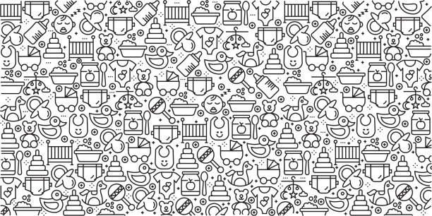 ilustrações de stock, clip art, desenhos animados e ícones de vector set of design templates and elements for baby in trendy linear style - seamless patterns with linear icons related to baby - vector - baby