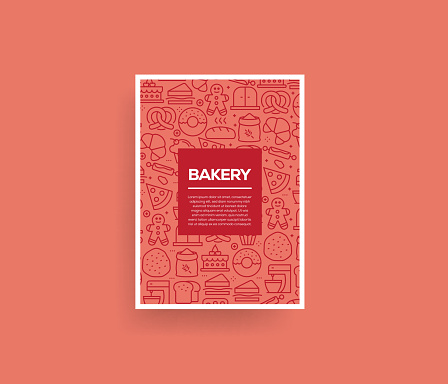Vector set of design templates and elements for Bakery in trendy linear style - Seamless patterns with linear icons related to Bakery - Vector