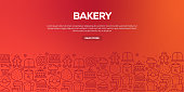 Vector set of design templates and elements for Bakery in trendy linear style - Web Banner with linear icons related to Bakery - Vector