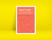 Vector Set of Design Templates and Elements for Beauty and SPA in Trendy Linear Style - Pattern with Linear Icons Related to Beauty and SPA - Minimalist Cover, Poster Design