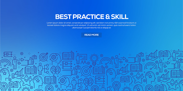 Vector set of design templates and elements for Best Practice and Skill in trendy linear style - Seamless patterns with linear icons related to Best Practice and Skill - Vector