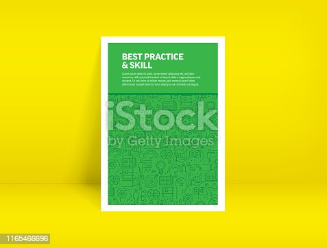 Vector Set of Design Templates and Elements for Best Practice and Skill in Trendy Linear Style - Pattern with Linear Icons Related to Best Practice and Skill - Minimalist Cover, Poster Design
