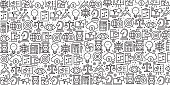 Vector set of design templates and elements for Business and Marketing in trendy linear style - Seamless patterns with linear icons related to Business and Marketing - Vector