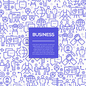 Vector set of design templates and elements for Business in trendy linear style - Seamless patterns with linear icons related to Business - Vector
