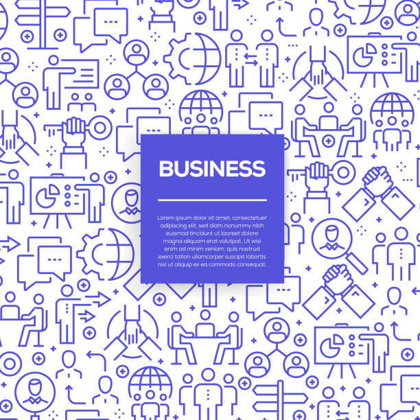Vector set of design templates and elements for Business in trendy linear style - Seamless patterns with linear icons related to Business - Vector Vector set of design templates and elements for Business in trendy linear style - Seamless patterns with linear icons related to Business - Vector business patterns stock illustrations
