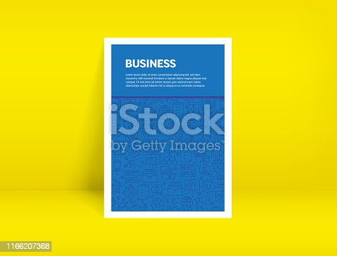905689676 istock photo Vector Set of Design Templates and Elements for Business in Trendy Linear Style - Pattern with Linear Icons Related to Business - Minimalist Cover, Poster Design 1166207368