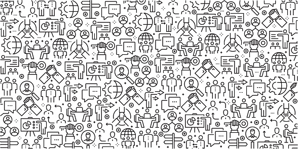 Vector set of design templates and elements for Business People in trendy linear style - Seamless patterns with linear icons related to Business People - Vector