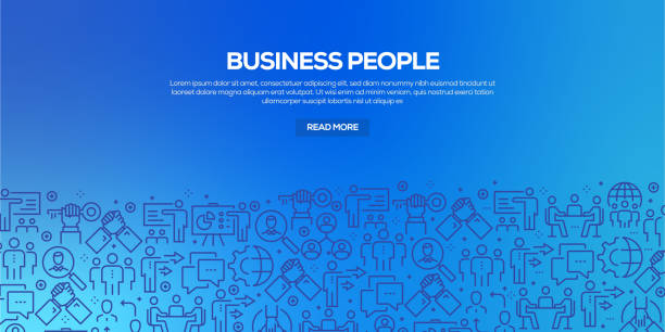 Vector set of design templates and elements for Business People in trendy linear style - Seamless patterns with linear icons related to Business People - Vector Vector set of design templates and elements for Business People in trendy linear style - Seamless patterns with linear icons related to Business People - Vector business patterns stock illustrations
