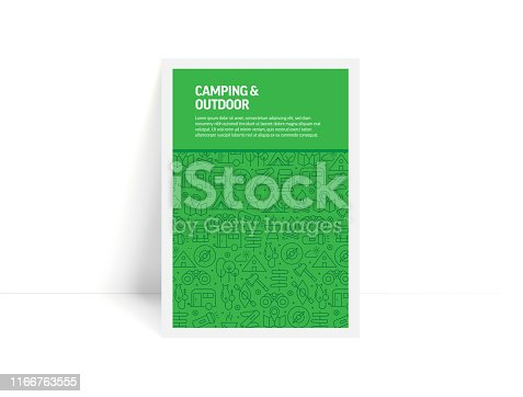 Vector Set of Design Templates and Elements for Camping and Outdoor in Trendy Linear Style - Pattern with Linear Icons Related to Camping and Outdoor - Minimalist Cover, Poster Design