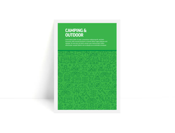 Vector Set of Design Templates and Elements for Camping and Outdoor in Trendy Linear Style - Pattern with Linear Icons Related to Camping and Outdoor - Minimalist Cover, Poster Design Vector Set of Design Templates and Elements for Camping and Outdoor in Trendy Linear Style - Pattern with Linear Icons Related to Camping and Outdoor - Minimalist Cover, Poster Design adventure patterns stock illustrations