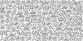 Vector set of design templates and elements for Camping in trendy linear style - Seamless patterns with linear icons related to Camping - Vector