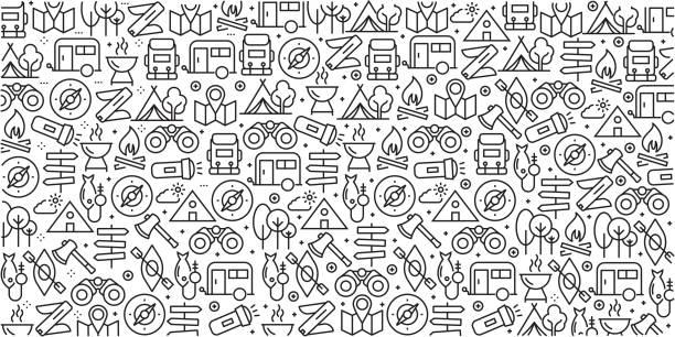 ilustrações, clipart, desenhos animados e ícones de conjunto de vetor de modelos de design e elementos para camping em estilo moderno e linear - padrões sem emenda com lineares ícones relacionados para camping - vector - atividades ao ar livre