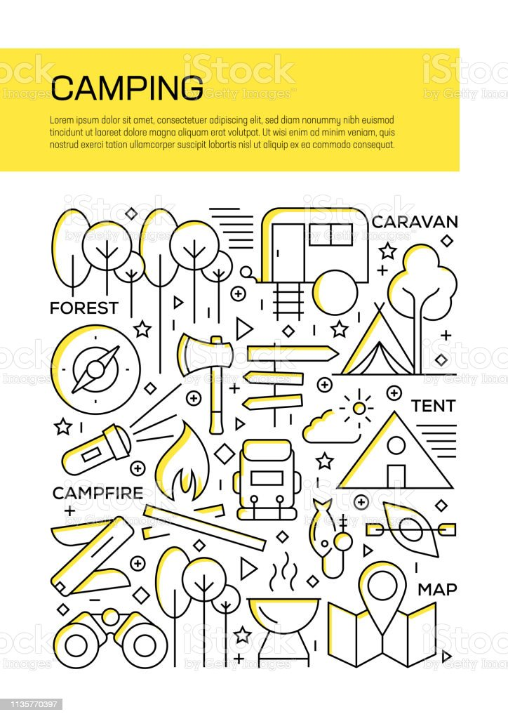Vector set of design templates and elements for Camping in trendy...
