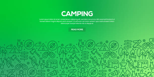 Vector set of design templates and elements for Camping in trendy linear style - Seamless patterns with linear icons related to Camping - Vector Vector set of design templates and elements for Camping in trendy linear style - Seamless patterns with linear icons related to Camping - Vector adventure patterns stock illustrations
