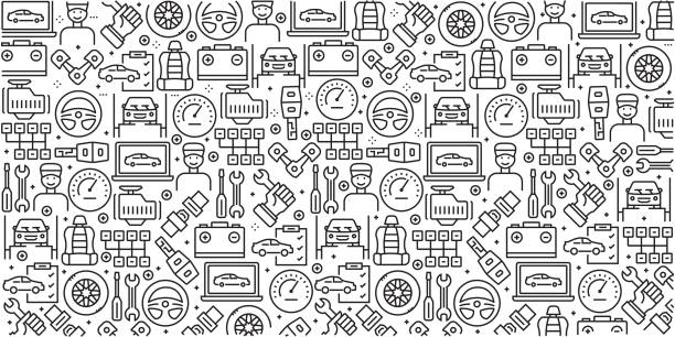 Vector set of design templates and elements for Car Service in trendy linear style - Seamless patterns with linear icons related to Car Service - Vector Vector set of design templates and elements for Car Service in trendy linear style - Seamless patterns with linear icons related to Car Service - Vector vehicle part stock illustrations