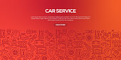 Vector set of design templates and elements for Car Service in trendy linear style - Seamless patterns with linear icons related to Car Service - Vector