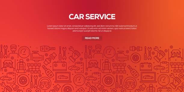 illustrazioni stock, clip art, cartoni animati e icone di tendenza di vector set of design templates and elements for car service in trendy linear style - seamless patterns with linear icons related to car service - vector - mechanic