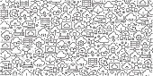 Vector set of design templates and elements for Cloud Computing in trendy linear style - Seamless patterns with linear icons related to Cloud Computing - Vector