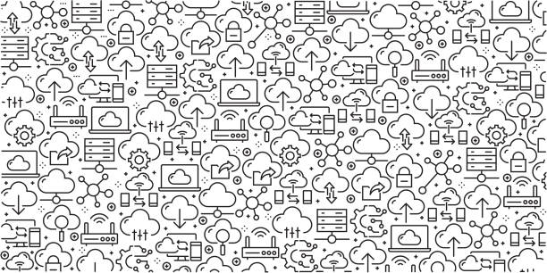 Vector set of design templates and elements for Cloud Computing in trendy linear style - Seamless patterns with linear icons related to Cloud Computing - Vector Vector set of design templates and elements for Cloud Computing in trendy linear style - Seamless patterns with linear icons related to Cloud Computing - Vector backgrounds icons stock illustrations