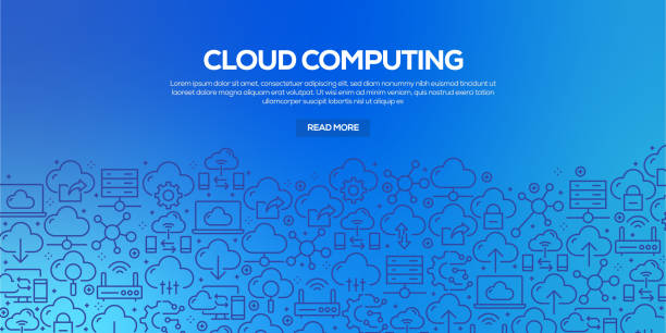 Vector set of design templates and elements for Cloud Computing in trendy linear style - Seamless patterns with linear icons related to Cloud Computing - Vector Vector set of design templates and elements for Cloud Computing in trendy linear style - Seamless patterns with linear icons related to Cloud Computing - Vector transfer image stock illustrations