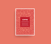 Vector set of design templates and elements for Coffee in trendy linear style - Seamless patterns with linear icons related to Coffee - Vector