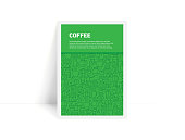 Vector Set of Design Templates and Elements for Coffee in Trendy Linear Style - Pattern with Linear Icons Related to Coffee - Minimalist Cover, Poster Design