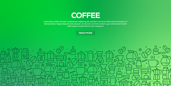 Vector set of design templates and elements for Coffee Related in trendy linear style - Seamless patterns with linear icons related to Coffee - Vector