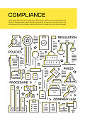Vector set of design templates and elements for Compliance in trendy linear style - Seamless patterns with linear icons related to Compliance - Vector