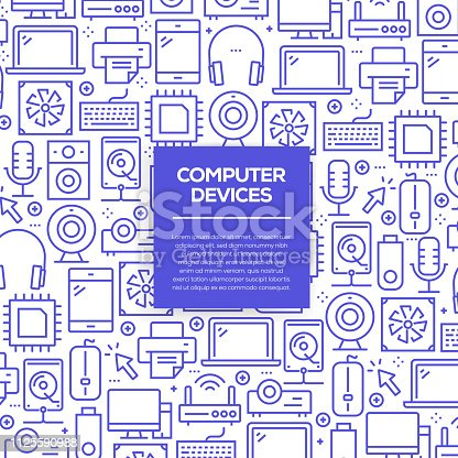 istock Vector set of design templates and elements for Computer Devices in trendy linear style - Seamless patterns with linear icons related to Computer Devices - Vector 1125590988