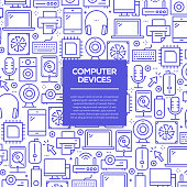 Vector set of design templates and elements for Computer Devices in trendy linear style - Seamless patterns with linear icons related to Computer Devices - Vector
