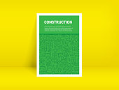 Vector Set of Design Templates and Elements for Construction in Trendy Linear Style - Pattern with Linear Icons Related to Construction - Minimalist Cover, Poster Design
