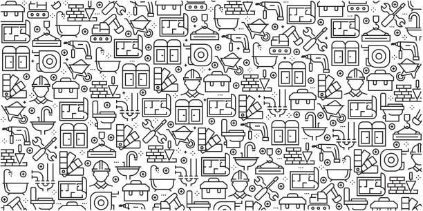 Vector set of design templates and elements for Construction Industry in trendy linear style - Seamless patterns with linear icons related to Construction Industry - Vector Vector set of design templates and elements for Construction Industry in trendy linear style - Seamless patterns with linear icons related to Construction Industry - Vector gardening equipment stock illustrations