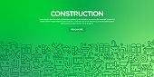 Vector set of design templates and elements for Construction Industry in trendy linear style - Seamless patterns with linear icons related to Construction Industry - Vector
