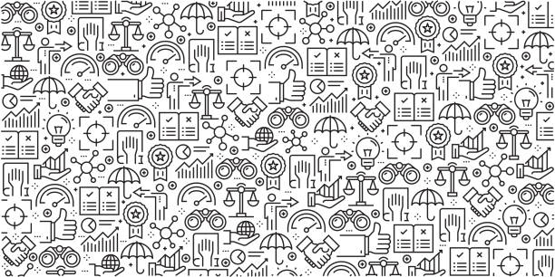 Vector set of design templates and elements for Core Values in trendy linear style - Seamless patterns with linear icons related to Core Values - Vector Vector set of design templates and elements for Core Values in trendy linear style - Seamless patterns with linear icons related to Core Values - Vector determination stock illustrations