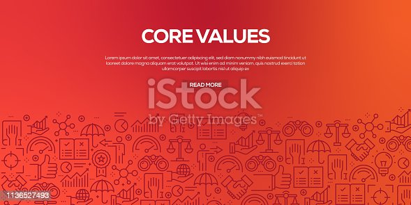 Vector set of design templates and elements for Core Values in trendy linear style - Seamless patterns with linear icons related to Core Values - Vector