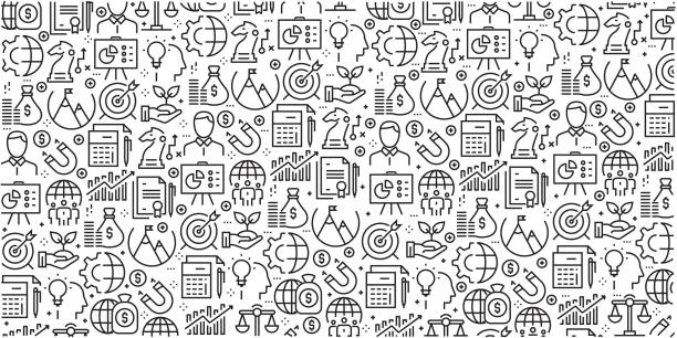 Vector set of design templates and elements for Corporate Business in trendy linear style - Seamless patterns with linear icons related to Corporate Business - Vector Vector set of design templates and elements for Corporate Business in trendy linear style - Seamless patterns with linear icons related to Corporate Business - Vector business patterns stock illustrations